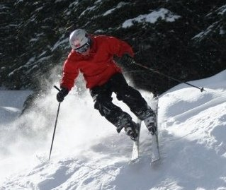 Skiing the double blacks at Silver Star in BC.
