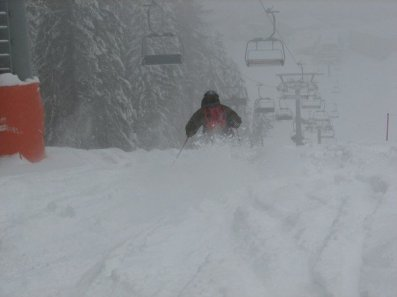 Playing in the pow under Mosta Chair