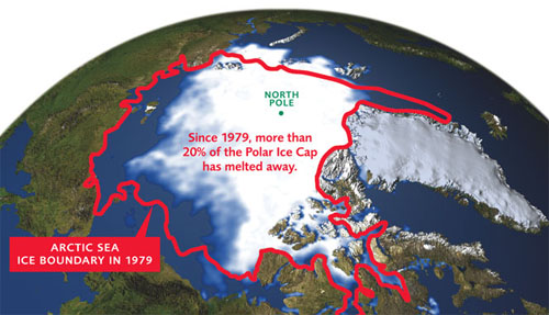 Polar Ice Cap reduction (http://enviromatters.wikispaces.com/melting+of+the+polar+ice+caps)